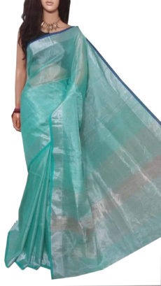 Light Blue And Silver Tissue Bengal Plain Linen saree-yespoho