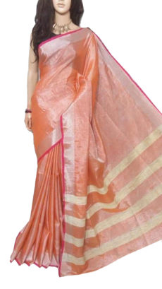 Orange Tissue Bengal Plain Linen saree-yespoho