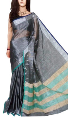 Black Tissue Bengal Plain Linen saree-yespoho