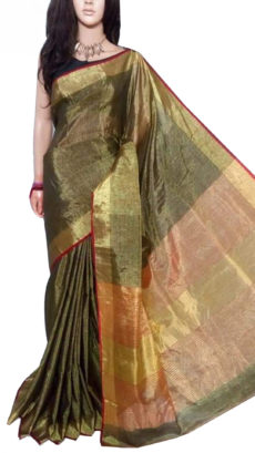Black And Gold Tissue Bengal Plain Linen saree-yespoho
