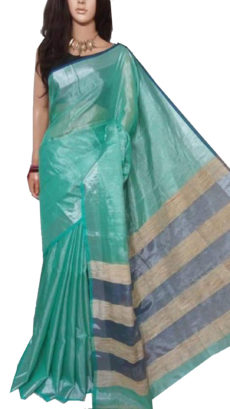 Light Blue Tissue Bengal Plain Linen saree-yespoho