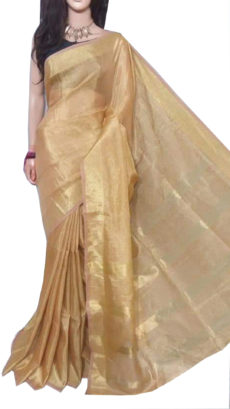 Chiku  And Gold Tissue Bengal Plain Linen saree-yespoho