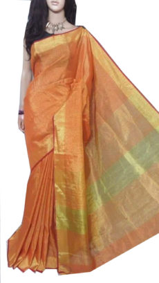 Red Tissue Bengal Plain Linen saree-yespoho