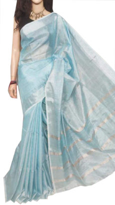 Light Froozi And Silver Tissue Bengal Plain Linen saree-yespoho