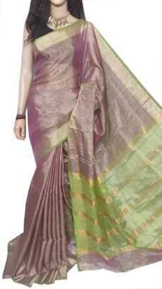 Maroon pink  Tissue Bengal Plain Linen saree-yespoho