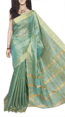 Deep Green Tissue Bengal Plain Linen saree-yespoho