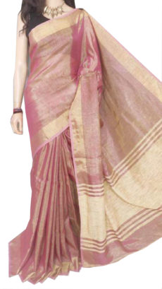 Bright Red Tissue Bengal Plain Linen saree-yespoho