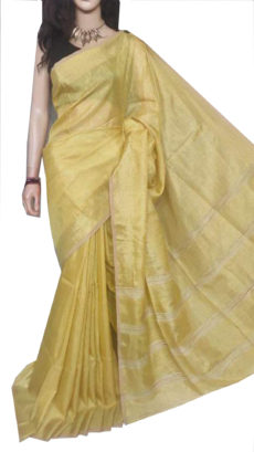 Yellow Tissue Bengal Plain Linen saree-yespoho
