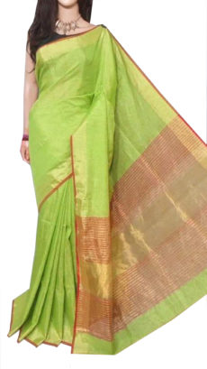 Sea Green Tissue Bengal Plain Linen saree-yespoho