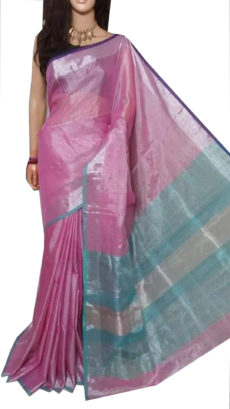 Baby pink Tissue Bengal Plain Linen saree-yespoho