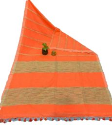 Orange Stripe Ghicha Khadi Cotton  Saree-yespoho