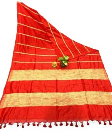 Red Stripe Ghicha Khadi Cotton saree-yespoho