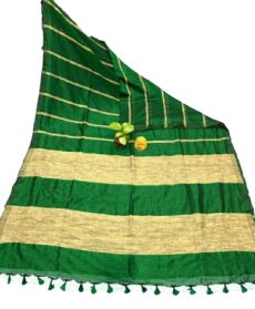 Green Stripe Ghicha Khadi Cotton saree-yespoho