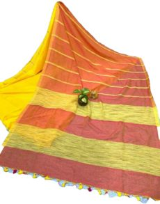 Red Yellow Stripe Ghicha  Khadi Cotton Saree-yespoho