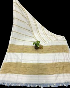 Milk White Stripe Ghicha  Khadi Cotton Saree-yespoho