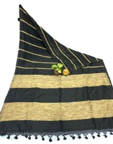 Black Stripe Ghicha Khadi Cotton saree-yespoho