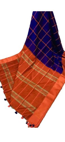 Royal Blue & Orange Handloom Silk Cotton Saree-yespoho