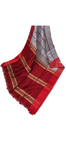 Still Grey & Red Handloom Silk cotton saree-yespoho