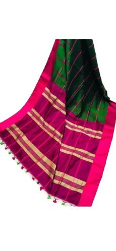 Green & Rani Handloom Silk Cotton Saree-yespoho