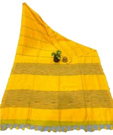 Deep Yellow Stripe Ghicha  Khadi Cotton Saree-yespoho