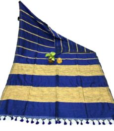Royal Blue Stripe Ghicha Khadi Cotton Saree-yespoho