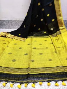 Black And Lemon Yellow Circle Motif  Bengal Linen Saree-yespoho