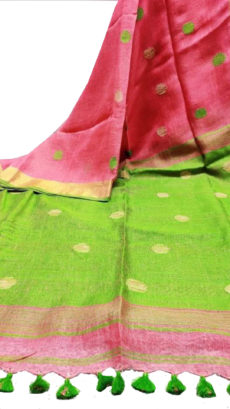Red And  Sea Green  Circle Motif Bengal Linen Saree-yespoho