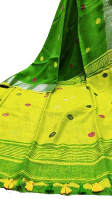 Green And Lemon Yellow Circle  Motif Bengal Linen Saree-yespoho