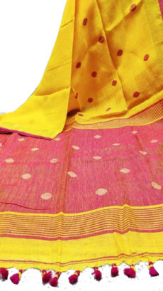 Yellow and Red Circle Motif Bengal Linen saree-yespoho