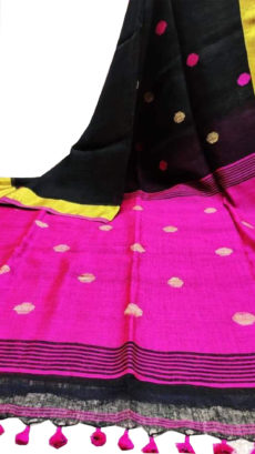 Black And Pink Circle Motif Bengal Linen Saree-yespoho