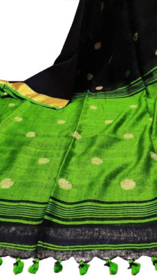 Black And Green Circle Motif Bengal  Linen Saree-yespoho