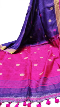 Voilet and Rani Circle Motif Bengal  Linen saree-yespoho