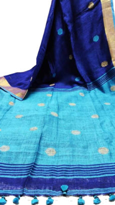 Royal Blue And Sky Blue Circle Motif Bengal Linen Saree-yespoho