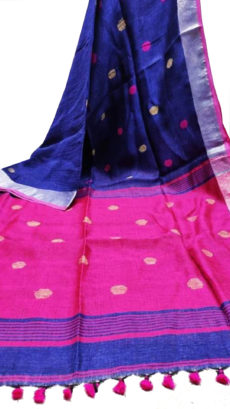 Royal Blue And Rani Circle Motif Bengal Linen Saree-yespoho
