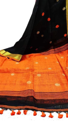 Black and Orange Circle Motif Bengal Linen Saree-yespoho