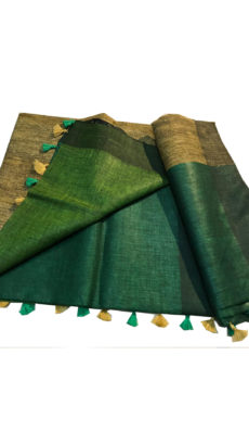 Green Linen  Plain Saree-yespoho
