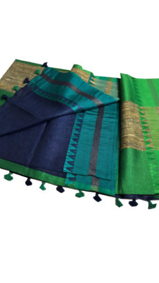 Dark Nave Blue And Green Linen Plain Saree-yespoho