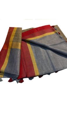 Red And Grey Linen Plain Saree-yespoho