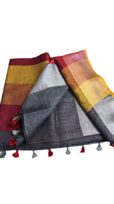 Grey And Red Linen Plain  Saree-yespoho