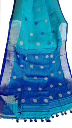 Sky Blue And Royal Blue Circle Motif Bengal Linen Saree-yespoho