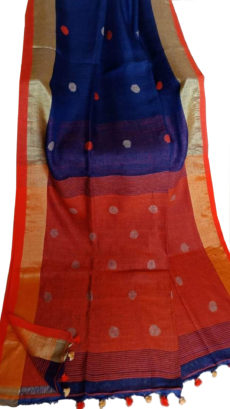 Navy Blue And Orange Circle Motif  Bengal Linen Saree-yespoho