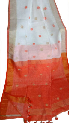 White And Orange Circle  Motif Bengal  Linen Saree-yespoho