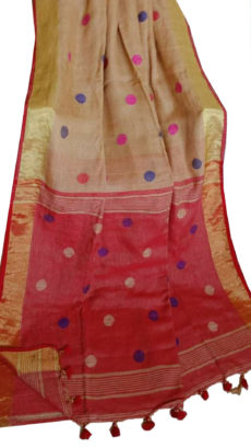 Light Brown And Red Circle Motif Bengal Linen Saree-yespoho