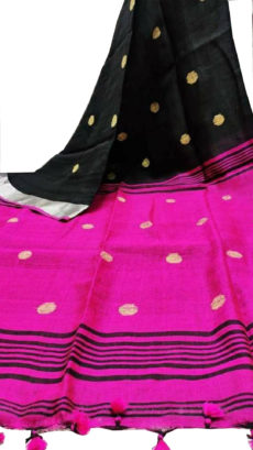 Black And Rani Circle Motif Bengal Linen Saree-yespoho