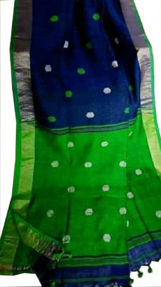 Navy Blue And  Green Circle Motif  Bengal Linen saree-yespoho