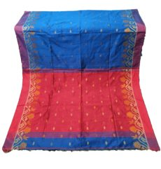 Bright Red And Blue Jamdani Silk Cotton Saree-yespoho