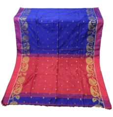 Royal Blue & Red Jamdani Silk Cotton Saree-yespoho
