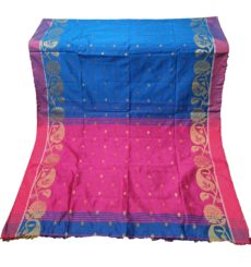 Royal Blue And Pink Silk Cotton Saree-yespoho
