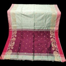 White & Maroon Jamdani Silk Cotton Saree-yespoho