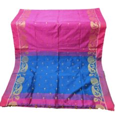 Rani And Royal Blue Jamdani  Silk Cotton Saree-yespoho